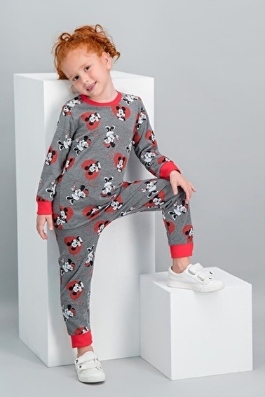 Minnie Mouse Minnie Mouse Lisanslı Açık Melanj Kız Çocuk Pijama Takımı Gri